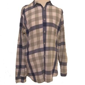 French Connection Men's plaid Long Sleeve Top
